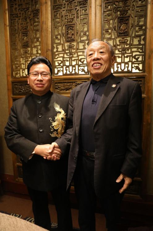 外交部原部长李肇星与北大易经教授易学专家陈炳地交流传统文化